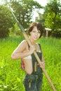 Sexy Farmer with shovel Royalty Free Stock Photo