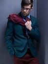 fashion male model dressed elegant - casual posing Royalty Free Stock Photo