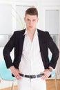 Sexy fashion male model dressed elegant, casual posing Royalty Free Stock Photo