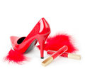 Sexy fashionable shoe and red lipstick Royalty Free Stock Photos