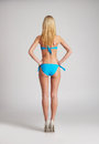 Sexy female back posing in a light blue swimsuit Royalty Free Stock Photo