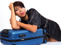 Sexy female traveller with carry-on Royalty Free Stock Photo