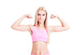 fitness girl flexing arms Royalty Free Stock Photo