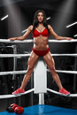 Sexy fitness girl showing muscular athletic body, abs. Muscular woman in the boxing ring Royalty Free Stock Photo