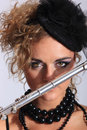 Sexy Flautist Royalty Free Stock Photo