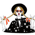 Sexy and funny fashion girl dressed in black blouse with star print, drawing in sketch style. Vector illustration