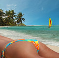 Sexy girl on beach. Colorful tropical vacation. Stock Images