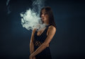 Sexy girl in a black dress smoking electronic cigarette Royalty Free Stock Photo