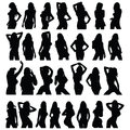 Sexy girl black silhouette set vector Royalty Free Stock Photo