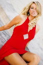 Sexy Girl Blonde in Elegant Red dress Royalty Free Stock Image
