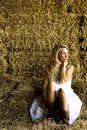 Sexy Girl Farmgirl and haybails Stock Images