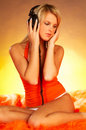 Sexy Girl with headphones Stock Image