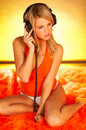 Sexy Girl with headphones Royalty Free Stock Photography