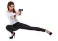Sexy girl holding  black gun Royalty Free Stock Photo