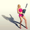 Sexy girl holding a chainsaw blonde builder with Stock Image