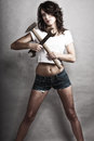 Sexy Girl Holding Hammer And W...