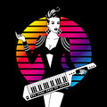Sexy girl with keytar monochrome on color background Stock Images