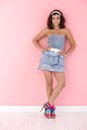 Sexy girl in mini dress smiling Royalty Free Stock Photo