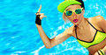 Sexy Girl in pool hot summer RNB  party style Royalty Free Stock Photo