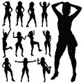 Sexy girl posing vector black silhouette Royalty Free Stock Photo