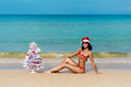 Sexy girl Santa in bikini on a beach fir-tree Royalty Free Stock Photo
