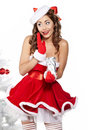 Sexy girl smiles and holding a gift Stock Images