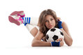 Sexy girl with soccer ball doing fitness over white background Royalty Free Stock Photography