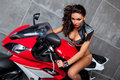 Sexy Girl on sportbike Royalty Free Stock Images