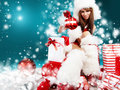 Sexy girl wearing santa claus clothes Royalty Free Stock Images
