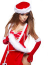 Sexy girl wearing santa claus clothes Stock Image