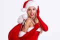 girl wearing santa claus clothes Royalty Free Stock Photo