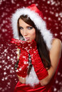 Sexy girl wearing santa claus clothes on r Royalty Free Stock Photography