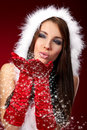Sexy girl wearing santa claus clothes on r Royalty Free Stock Images