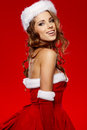Sexy girl wearing santa claus costume Royalty Free Stock Photo