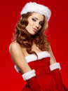 Sexy girl wearing santa claus costume Stock Image
