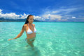 Sexy girl in a white bikini beautiful woman bathing clear sea vietnam Royalty Free Stock Photography