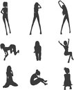 Sexy girls silhouette pose Royalty Free Stock Image