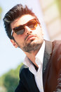 gorgeous stylish man. Sunglasses Royalty Free Stock Photo
