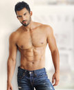 Sexy guy muscular handsome shirtless in jeans Stock Photos