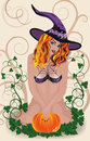 Sexy halloween witch card vector illustration Royalty Free Stock Photo