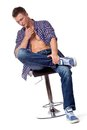 Sexy handsome man posing in casual wear Royalty Free Stock Photo
