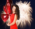 Sexy happy woman with balloons Royalty Free Stock Photo