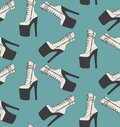 Sexy high heels boots, pole dance pleaser shoes, Exotic dancer seamless pattern decoration. wrapping paper, branding, fabrics Royalty Free Stock Photo