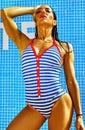 Sexy hot model in bikini on beach swimwear Royalty Free Stock Photo