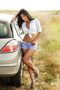Sexy hot woman and car Royalty Free Stock Photo
