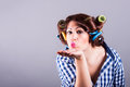 Sexy housewife with curlers pin up portrait attractive Royalty Free Stock Photos