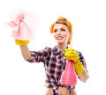 Sexy housewife holding a piece of cloth and a spray studio shot attractive isolated over white background Royalty Free Stock Photography