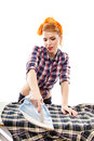 Sexy housewife ironing isolated over white background Royalty Free Stock Image
