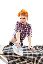 Sexy housewife ironing isolated over white background Royalty Free Stock Photo