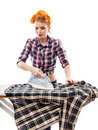 Sexy housewife ironing isolated over white background Stock Photo